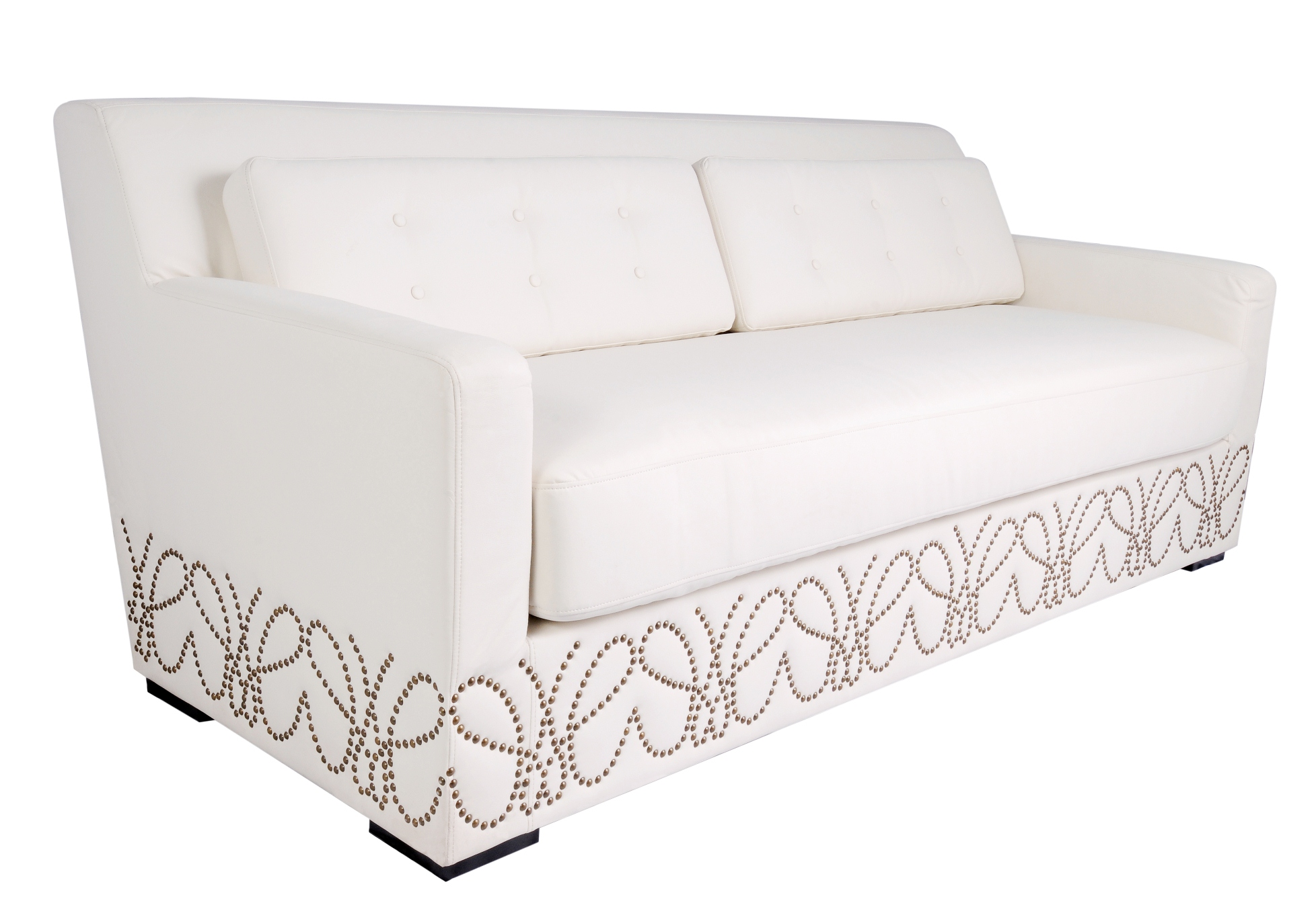 White Leather with Nailheads Sofa