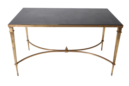 Gold Rectangular Table with Black Top