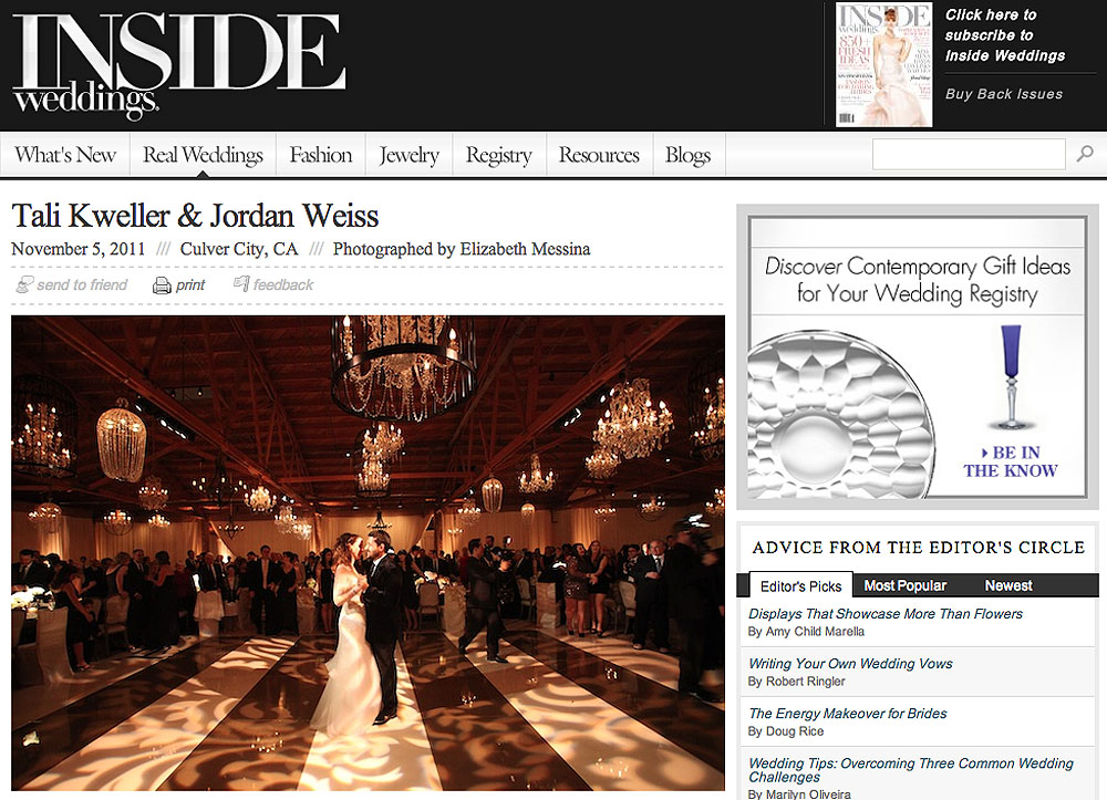 screen shot of jordan weiss wedding featured on inside weddings blog