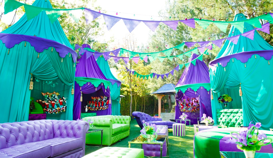 shrek village party in green and purple