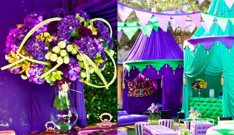 purple and green shrek floral arrangement and shrek tents