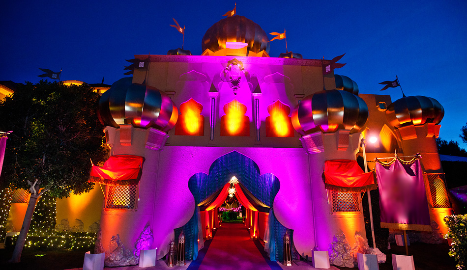 aladdin castle facade lit up at night