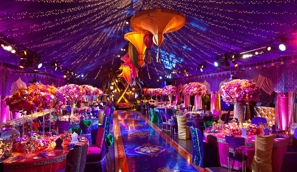 purple aladdin dining area draped in fabric