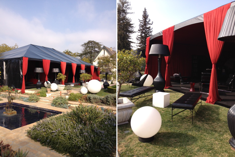 black and red tent at delta airlines grammy party