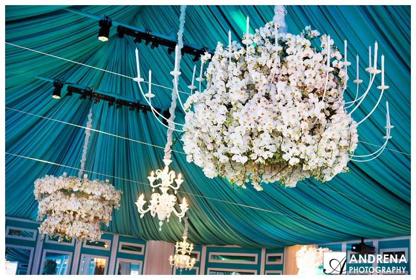 Tiffany Blue and White Party with Flower Candeliers