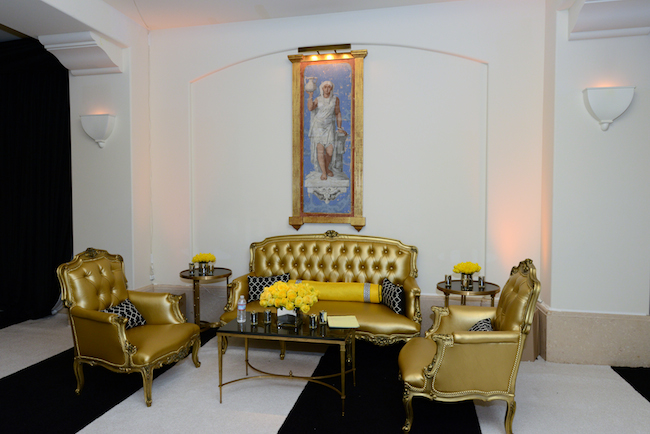 Yellow and Black Event Decor, Gold Furniture