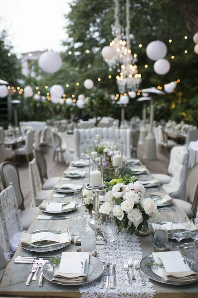 Outdoor Wedding Reception with Paper Lanterns