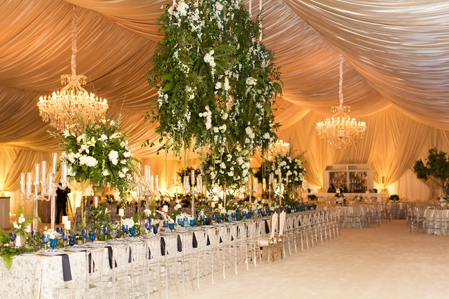 opulent wedding design, opulent wedding, suspended floral design, ivory, chandeliers