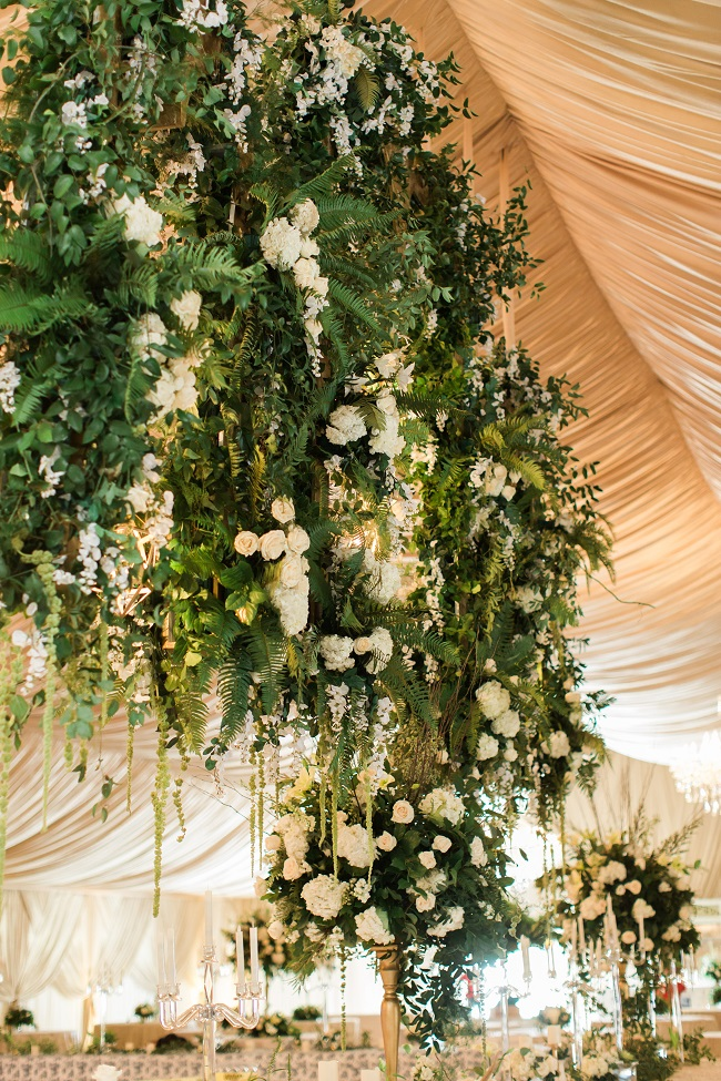 opulent wedding design, opulent wedding, suspended floral design, ivory